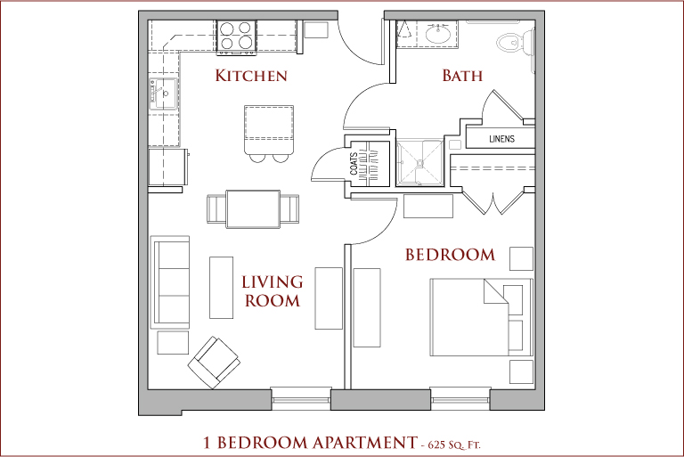Square Footage Of A 1 Bedroom Apartment